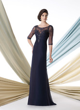 Mon Cheri D  sz 4/6 Smoke Gray Long Sleeve Illusion Beaded Gown $1200 NWT MOB