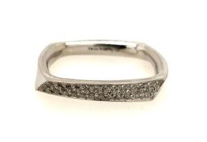 Tiffany & Co Frank Gehry Torque 18K White Gold Diamond Wedding Band Ring - Sz 11