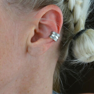 Sterling Silver Bali Style Ear Cuff - 925 Silver - Adjustable Left or Right Side