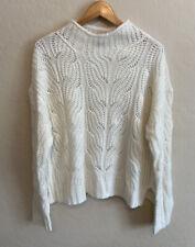 J Crew Pointelle Cable Sweater Ivory Sz L Alpaca Blend