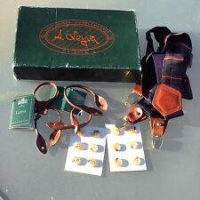 Vintage LEYVA Dual Fixing Silk Braces/Suspenders M.I.Spain