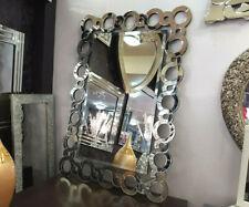 Designer Decorative Large Art Deco Glass Silver Bevelled Wall Mirror 120x80cm