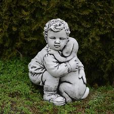 massif sculpture en pierre garçon avec chien figure d'enfant ciment
