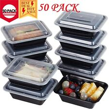 50 Meal Prep Containers 1 Compartment Food Storage Boxes Reusable Microwave Safe