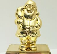 """Vintage  Brass Santa  Christmas Stocking Holder Mantel Hook Candy Container 7.5"""""""