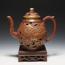 OldZiSha-Gorgeous  China Yixing Zisha Pottery Old 450cc Gilt Aulic Teapot