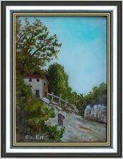 ARTE NAIF - casolare di montagna olio su vetro ENRICO COPETTA COEN 1925-1989