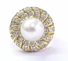 4910e997efda 18 Quilates Diamante Perla Oro Amarillo Joyas Anillo Aniversario 10.3mm  .77ct