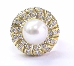 18Kt Pearl Diamond Yellow Gold Jewelry Anniversary Ring 10.3mm .77Ct