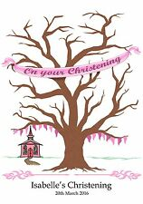 Large personalised Fingerprint Print Christening Tree-A3- Guest Book