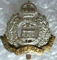 WW1 The Suffolk Regiment Cap Badge KC Bi-Metal Slider ANTIQUE Genuine