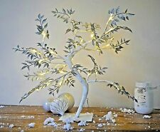 45cm Glittering Silver Leaf Christmas Twig Tree Pre Lit 32 Warm White LED Lights