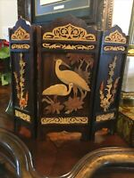 Antique Chinese/Asian Trifold Wooden Table Screen Good Luck Water Bird/Crane