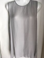 Vince Top Tunic Silk M Medium open back grey beaded Sheer