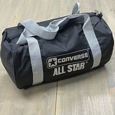 Vintage 90's Converse All Star Gym Duffel Bag Black and Silver Nylon NOS