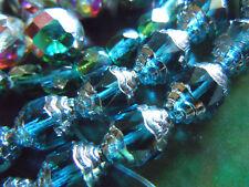 15stk. Grand magnifique émeraude Baroque Perles M. Argent se terminent en ovale - 8x10mm -