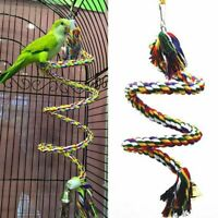 Bird Cockatiel Chew Climbing Ropes Budgie Bell Perch Coil Swing Cage Toy