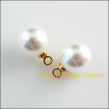 25 New Charms Gold Plated White Acrylic Round Smooth Beads Pendants