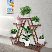 Free Standing 6 Tier Triangular Wood Flower Stand Plant Shelf Pot Display Rack