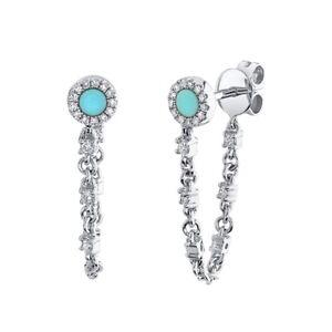 14K White Gold Turquoise Diamond Chain Earrings Stud Round Cut 0.43 TCW