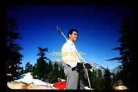 1950's Handsome Skier Man w/ Skies in California, Original Kodachrome Slide d7b
