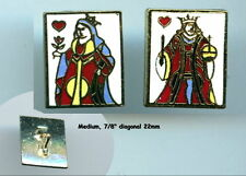 """New listing Set King Queen Of Hearts Cloisonne Enamel rectangle shape 7/8"""" sewing buttons"""