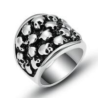 Fashion Stainless Steel Silver Men Multi-Skull Gothic Punk Biker Ring Size 8-12