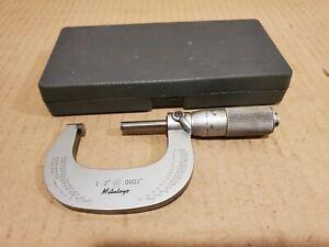 "Vintage MITUTOYO MICROMETER 1 - 2"" - .0001 with Box, 1"" Standard"