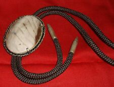 Vintage Bolo Tie Oval Tan Cream Striped Polished Stone Slide -Bullet Shaped Tips
