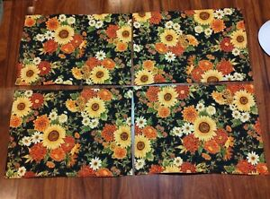 Handmade Quilted Set 4 Placemats Thanksgiving sunflowers fall flowers harvest