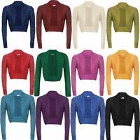New Women's Long Sleeve Shiny Lurex Knitted Shrug Cardigan Bolero Crop Top