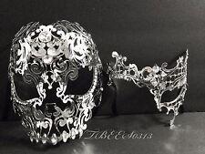 Couple Silver Metal Skull & Phantom Opera Venetian Masquerade Masks