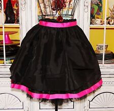 Betsey Johnson VINTAGE Dress Skirt BLACK Noir HOT PINK Full SKATER Layered 0 XS
