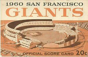 1960 SAN FRANCISCO GIANTS OFFICIAL SCORE CARD~SCORED PENCIL