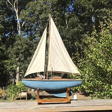"""Vintage Wooden Toy Model Pond Yacht Sailboat Ship Nautical 17 1/2"""" With Stand"""
