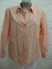 PETER HAHN schöne Bluse Hemd Gr.44, Weiß-Orange fein kariert, Langarm Klassisch