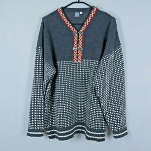 HPO Vintage Mens Grey Nordic Norwegian V Neck Henley Pullover Jumper SIZE XL