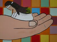 """beautiful art hand painted oil painting on canvas""""a woman in a large hand""""@N3003"""