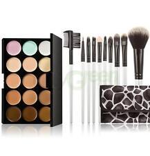 15 Colour Cream Concealer Face Contour Kit Highlighter Makeup Brushes Set New US