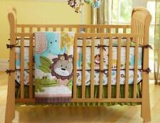 Animal Lion Baby Crib Cot Bedding Quilt Bumper Sheet Dust Ruffle Set of 4pcs gif