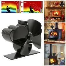 4 Blade Black Stove Fan Heat Powered Wood Log Burner Eco Friendly Warm New
