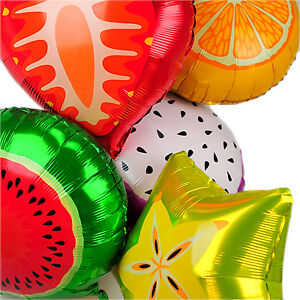 12 Pcs - Fruit Shape Foil Helium Balloons Birthday Party Air Solid Round Colour