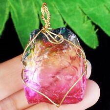 Wrap Rainbow Titanium Crystal Agate Druzy Quartz Geode Pendant Bead S75201