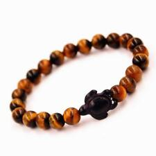 8mm Natural Tiger Eye Stone Beads Tortoise Wood Hand Chain Bracelet Fashion Gift