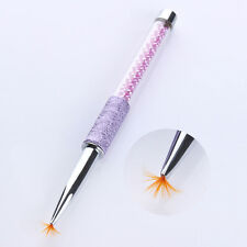 Shade Gradient Fan Design Nail Art Brush Pen 6mm Purple Rhinestone Handle Tools