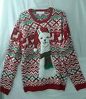 Jolly Sweaters Womens Ugly Christmas Sweater Red Nordic Fair Isle Llama Scarf L
