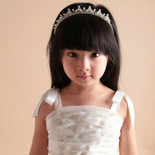 Pearls Kids Girl Crown Wedding Tiara Crystal Rhinestone Pageant Headband