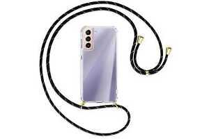 Collier pour Samsung Galaxy S21 5G noir+or (O) Etui Coque silicone avec cordon