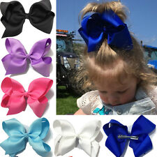 "6 ""  20 pcs/lot Girls Kids Large Hairbow Baby Hair Bows Alligator Clips Bowknot"