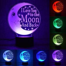 3D Love Moon Lamp LED Night Light Color Change Kids Lovers Table Desk Lamp Gift